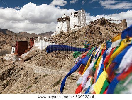 Namgyal Tsemo Gompa With Prayer Flags