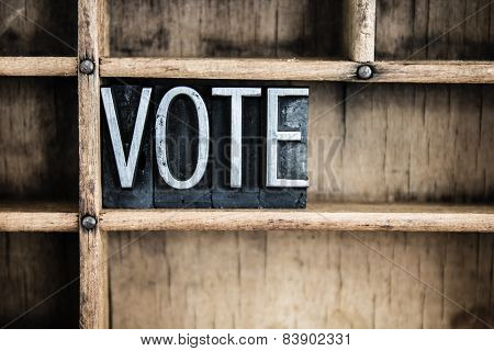 Vote Concept Metal Letterpress Word In Drawer