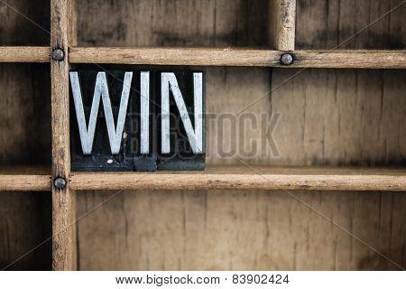 Win Concept Metal Letterpress Word In Drawer