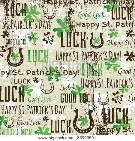 Grunge Background For Patricks Day With Shamrocks, Vector