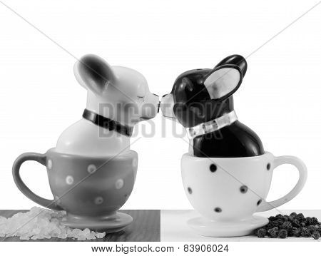 Salt and pepper shakers french bulldog isolated on white