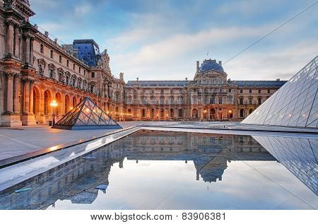 Paris - Louvre Museum With Pyramid, France