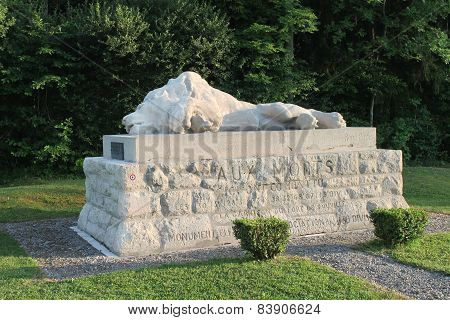 Wounded Lion memorial to defenders of Fort Souville, WW1 Battle of Verdun