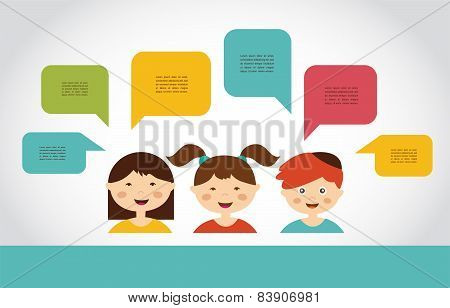 Cute kids with speech bubbles