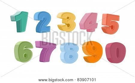 set cartoon numbers 3d