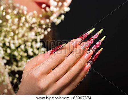 Beauty Pink Floral Design Nails.
