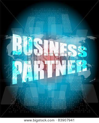 Management Concept: Business Partner Words On Digital Screen