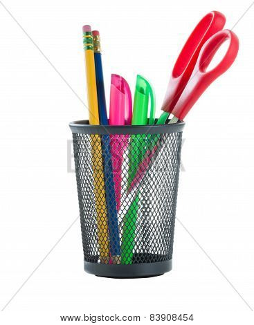 Office Supplies In Metal Basket
