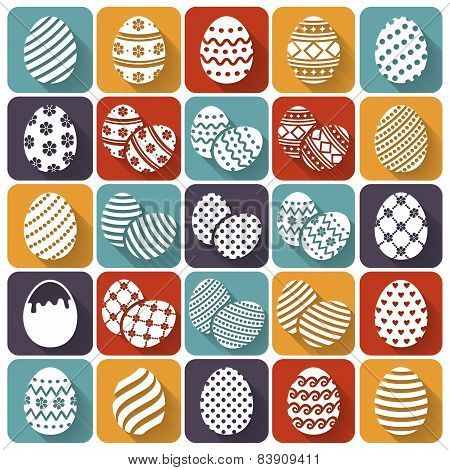 Easter Eggs. Vector Flat Icons Set.