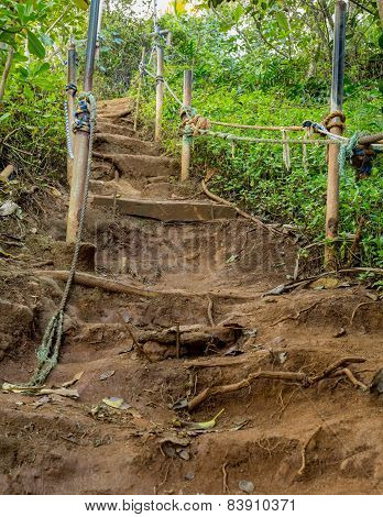 Steep Climb On Dirt Path Up Hillside