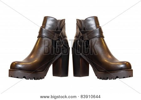 Pair of black woman boots.Isolated.