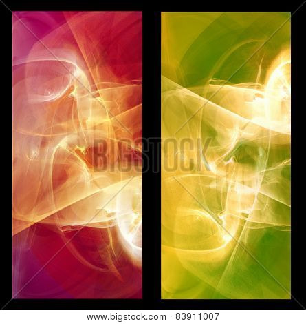 Two Abstract Fractal vertical backgrounds light in green and  red colors