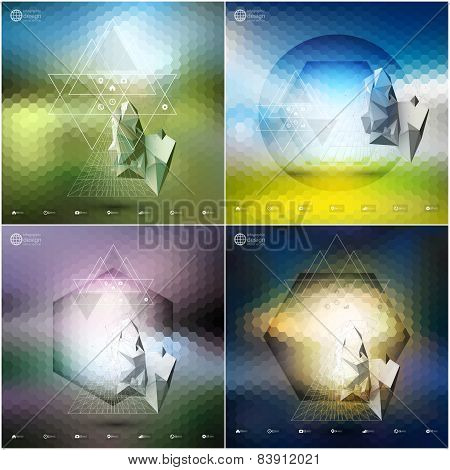 Abstract 3D pyramids, abstract hexagonal patterns. Infographic templates set for business or science