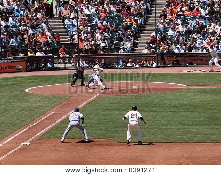 Ball Bounces Off The Ground As Giants Aubrey Huff Hits Pitch