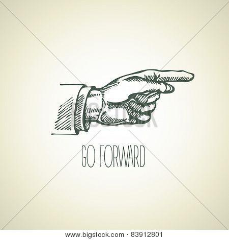 Vintage hand-drawn sign pointer hand. Vector illustration