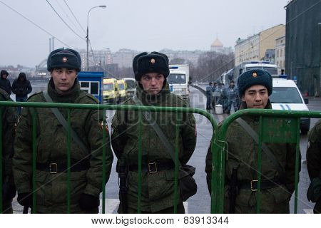 Soldiers Of Internal Troops Near Opposition March