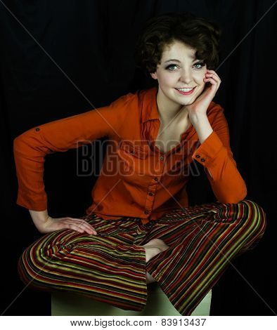 Woman wearing orange shirt