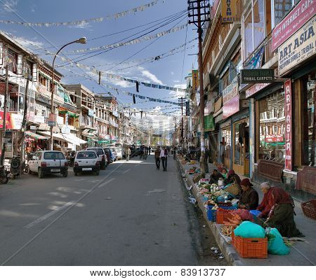 Mainstreet Of Leh Town With Sellers Of Vegetables