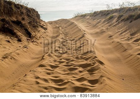 Tire Tracks In Sand Dunes Over Hill