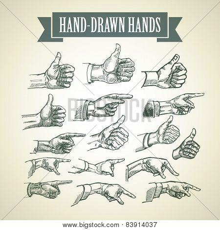 Set of vintage hand-painted hands. Vector illustration