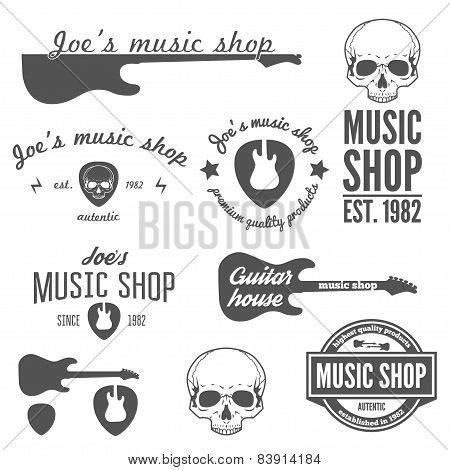 Set of vintage logo, badge, emblem or logotype elements for music shop and guitar shop