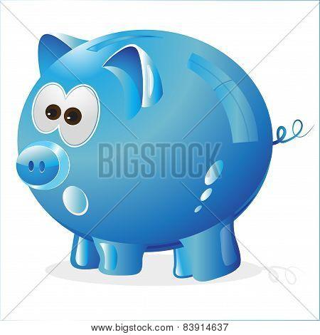 blue piggy bank for savings