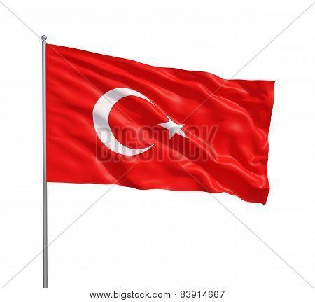Waving Flag Of Turkey
