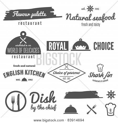 Set of logo, badge, emblem and logotype elements for restaurant, cafe and bar