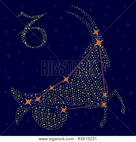 Zodiac Sign Capricorn Over Starry Sky