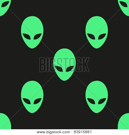 Universal vector alien heads seamless patterns.