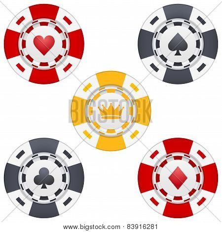 Universal casino chips with playing cards icons and crown