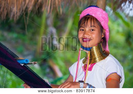 Karen Tribal Girl From Padaung Long Neck Hill Tribe Village