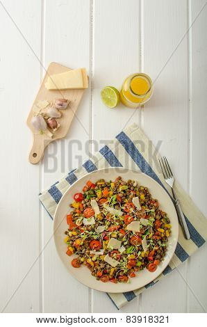 Warm Salad Of Lentils, Bio Healthy