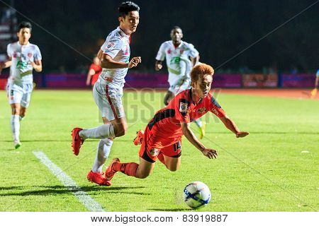 Sisaket Thailand-february 18: Nuttawut Khamrin (orange) Of Sisaket Fc. In Action During Thai Premier