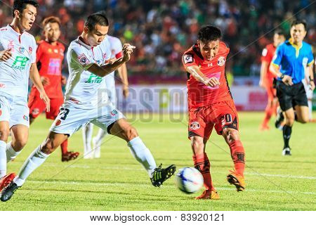 Sisaket Thailand-february 18: Tatree Seeha Of Sisaket Fc. Shooting Ball During Thai Premier League B