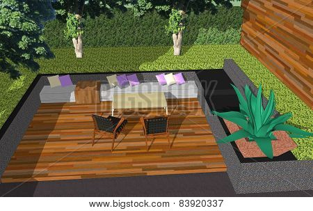 3D Small Space In The Garden