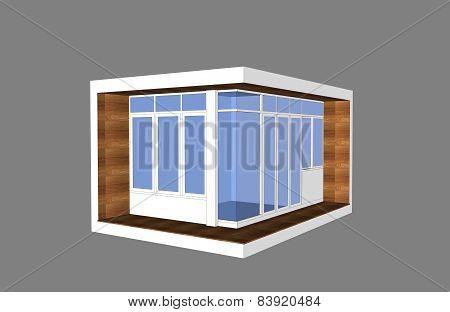 3D Modern Style Pavillion With Glass Box Facade