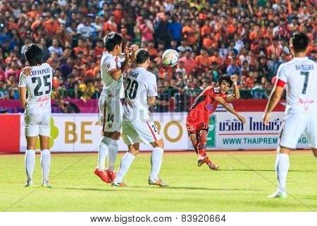 Sisaket Thailand-february 18: Chompoo Sangpo Of Sisaket Fc. Shooting Ball During Thai Premier League