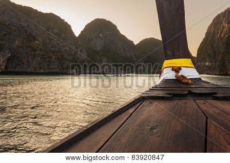 Long Tail Boat At Dusk