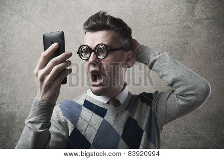 Funny Guy Having Troubles With His Phone