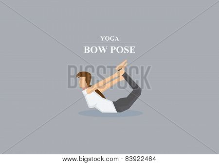 Yoga Asana Bow Pose Vector Illustration