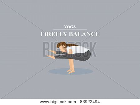 Yoga Asana Firefly Balance Pose Vector Illustration