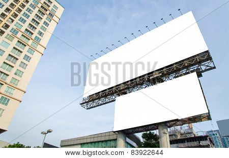 Large Blank Billboard With City View Background
