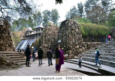 Chandigarh, India - January 4, 2015: People Visit Rock Garden In Chandigarh