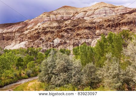 White Sandstone Mountain Fremont River Capitol Reef National Park Torrey Utah