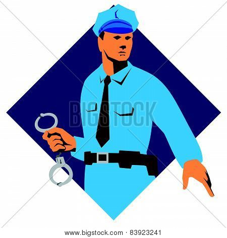 Policeman Police Officer With Handcuffs