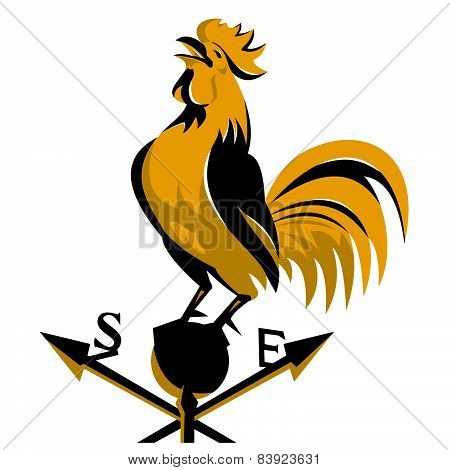 Rooster-crowing-weather-vane