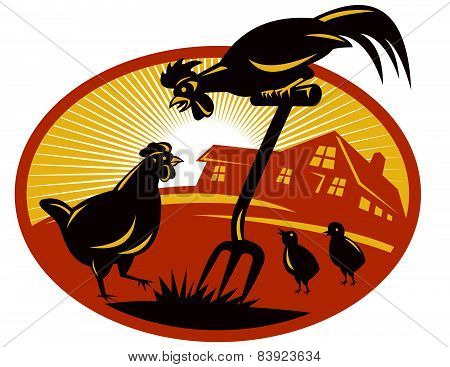 Rooster-hen-chicks-spade