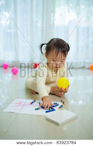 Asian Baby Girl Painting