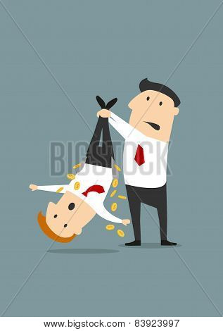 Cartooned businessman robbing a colleague